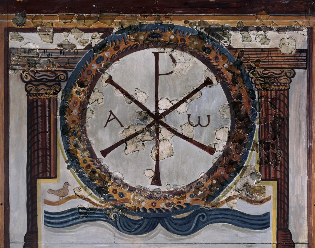 Christian symbol on wall fresco from Lullingstone villa