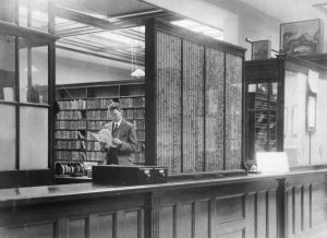 George Bennett in the library (1923), © Kent County Council Sevenoaks Local Studies Library