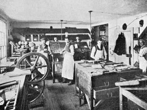 Salmon printers composing room (1899)