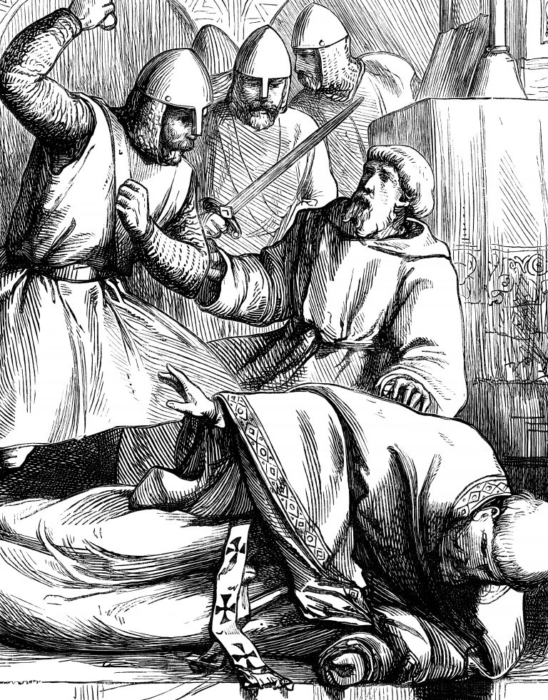 Illustration of the murder of Thomas Becket (1860s)