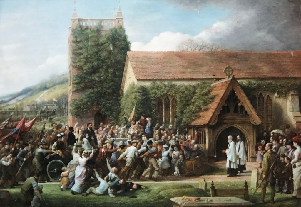 Lieutenant Cameron's Welcome Home by Charles West Cope (1877), © Shoreham Church. Cameron and Jacko can be seen in a carriage being pulled by the people of the village.