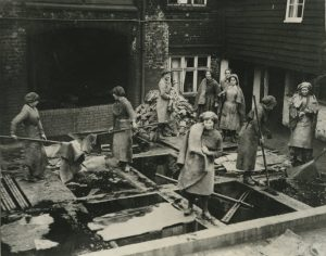 Women handling hides at the Whitmore Tannery during the First World War, © Eden Valley Museum Trust