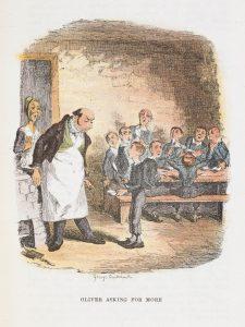 George Cruikshank's illustration of 'Oliver asking for more' (1911)