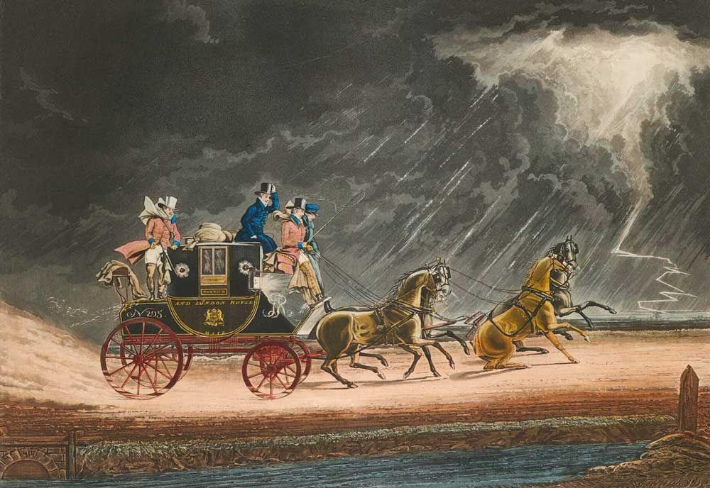 'The Mail Coach in a Thunder Storm on Newmarket Heath' (1827), © Royal Mail Group Ltd, courtesy of The Postal Museum