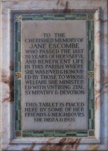 Memorial plaque in Penshurst Parish Church
