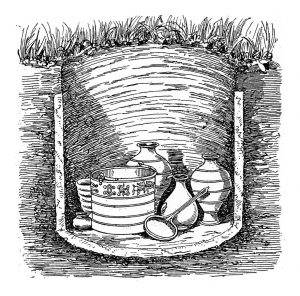 Drawing of Iron Age grave at Aylesford, showing objects deliberately buried with human remains.