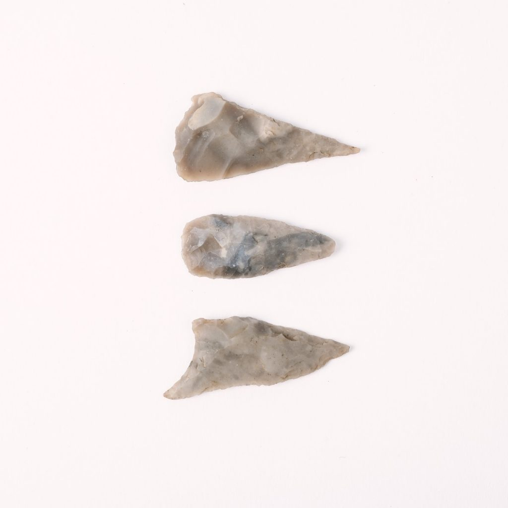 Neolithic flint arrowheads, © Kent County Council Sevenoaks Museum