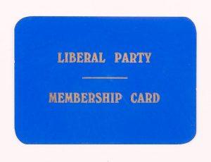 Sevenoaks Liberal Party membership card, © Kent County Council Sevenoaks Museum