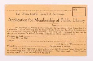 Membership application for Sevenoaks Library, © Kent County Council Sevenoaks Museum