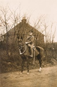 Photograph of Alfred Steer, cavalry solider, on horseback, © Kent County Council Sevenoaks Museum