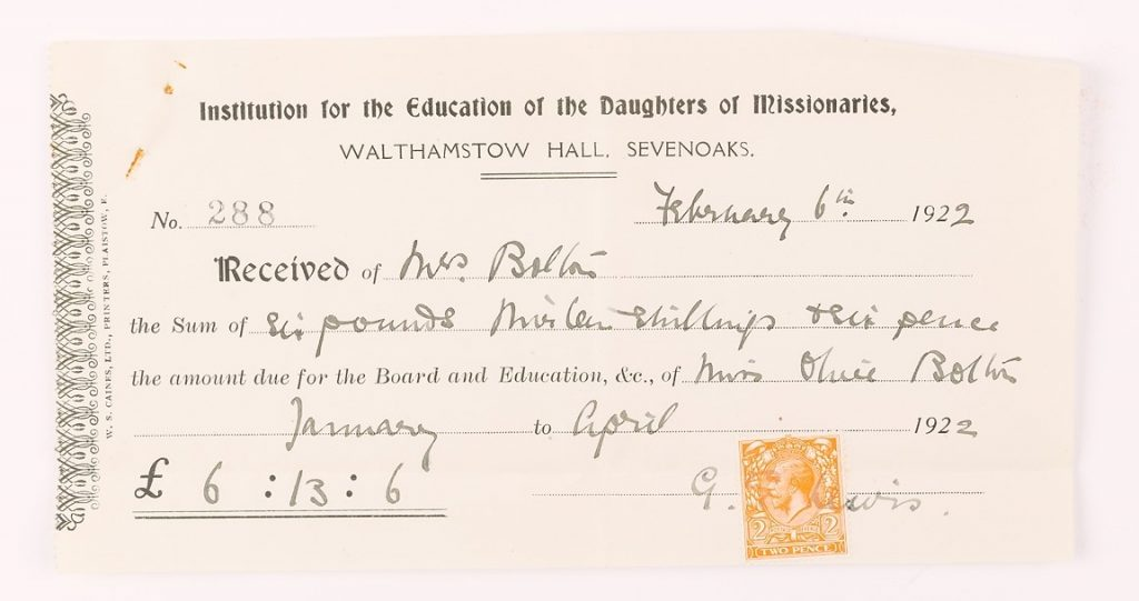 Receipt for Walthamstow Hall school fees (1922), © Kent County Council Sevenoaks Museum