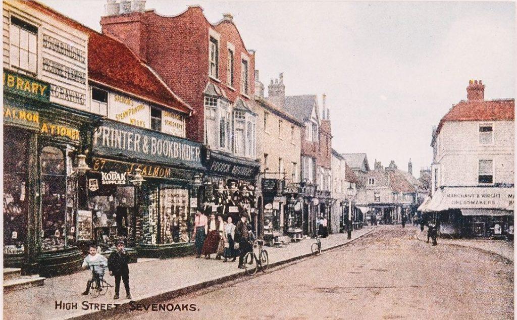 Salmon postcard showing the Salmon shop on Sevenoaks High Street, © Kent County Council Sevenoaks Museum