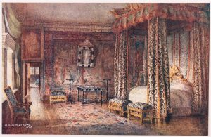 Postcard of the Venetian Bedroom in Knole House, illustrated by Charles Essenhigh Corke and printed by Salmon (1898)