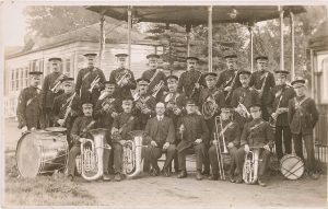 Photograph of Sevenoaks Town Band under the bandstand, © Kent County Council Sevenoaks Museum