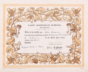 Lady Boswell's School certificate (1920), © Kent County Council Sevenoaks Museum