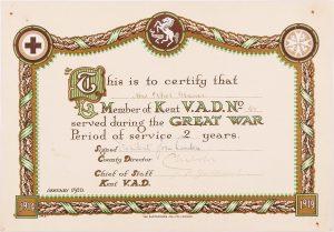 Kent VAD certificate for Ethel Glasier, © Kent County Council Sevenoaks Museum