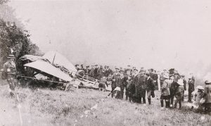 Crowds gather around Moisant's Bleriot aircraft