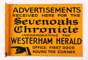 Sign from the office of the Sevenoaks Chronicle, © Kent County Council Sevenoaks Museum