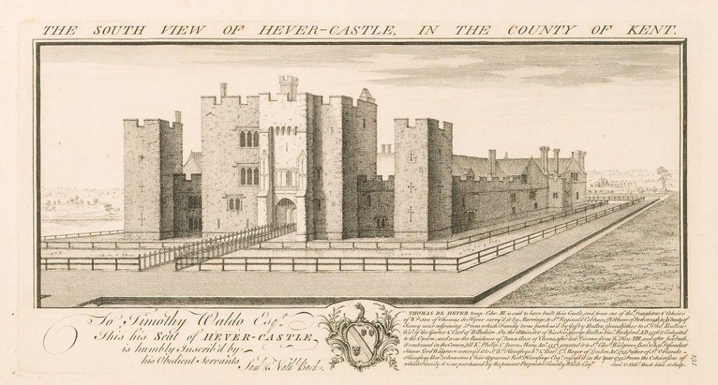 Engraving of Hever Castle (1700s), © Kent County Council Sevenoaks Museum