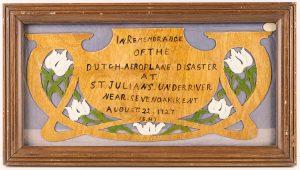 Commemorative carving with tulip design, © Kent County Council Sevenoaks Museum