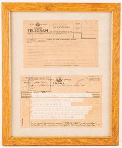 Telegram communications between Winston Churchill and Sevenoaks Urban District Council on his 80th birthday, © Kent County Council Sevenoaks Museum
