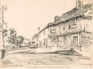 Drawing of Otford High Street by Vincent New for the Sevenoaks Chronicle (1932), © Kent County Council Sevenoaks Museum