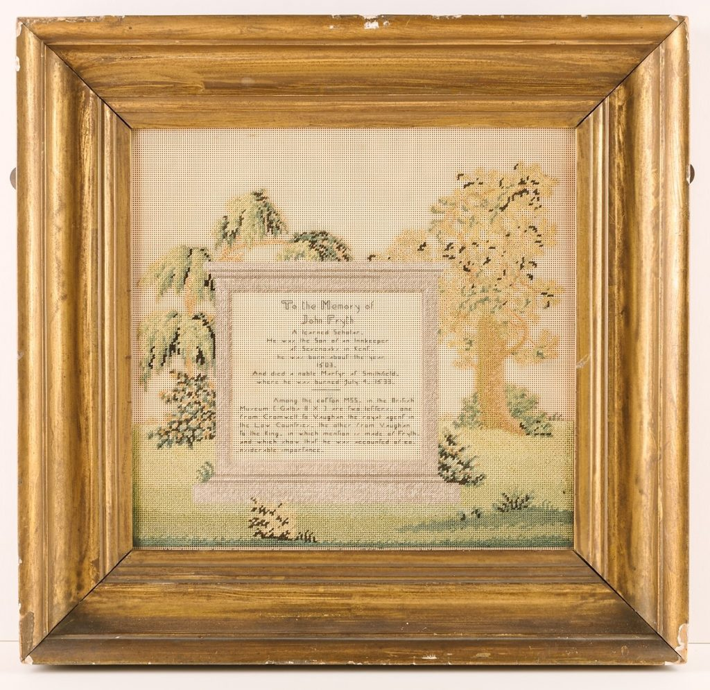 Victorian embroidery commemorating John Frith, © Kent County Council Sevenoaks Museum