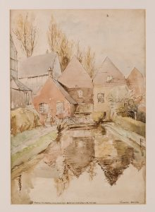 Watercolour sketch of Shoreham mill before it was demolished in 1936, by Vincent New, © Kent County Council Sevenoaks Museum