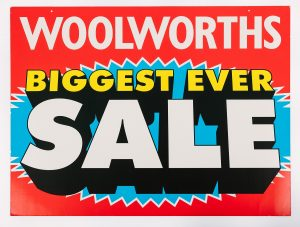 Closing down sale poster from the Sevenoaks branch of Woolworths, © Kent County Council Sevenoaks Museum