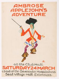 Hand painted poster by Felix Tomlin for 'Ambrose Applejohn's Adventure' (1928), a performance by the Sevenoaks Players, © Kent County Council Sevenoaks Museum