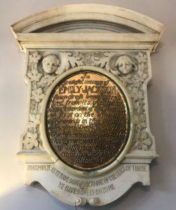 Memorial plaque in Emily Jackson House, now a nursing home