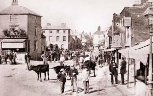 The cattle market in Sevenoaks town centre before it was moved in 1918
