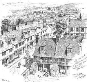 Drawing of Lime Tree Walk workmen's cottages by Thomas Jackson