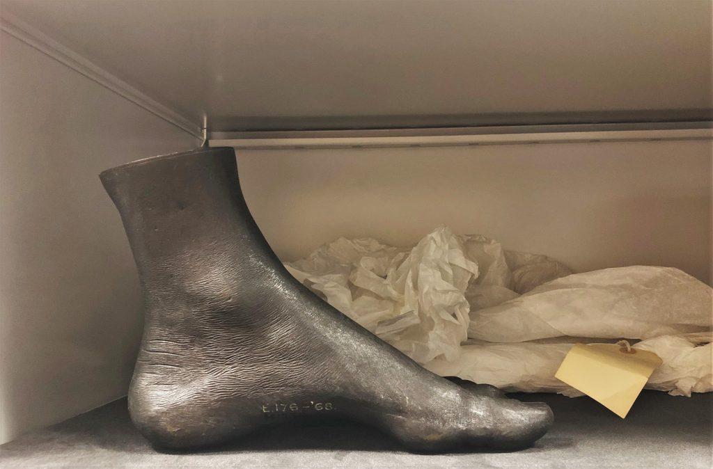 Cast foot in museum store