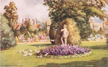 Salmon postcard of Knole, illustrated by Charles Essenhigh Corke, © Kent County Council Sevenoaks Museum