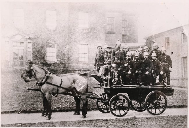 The Ready Fire Brigade on engine pulled by two horses