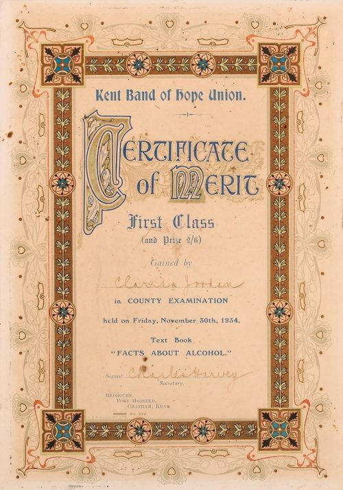 Kent Band of Hope Union certificate (1934), © Kent County Council Sevenoaks Museum