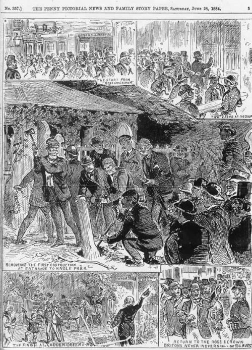 Cartoon of obstructions being removed at Knole Park, Penny Pictorial News 28 June 1884